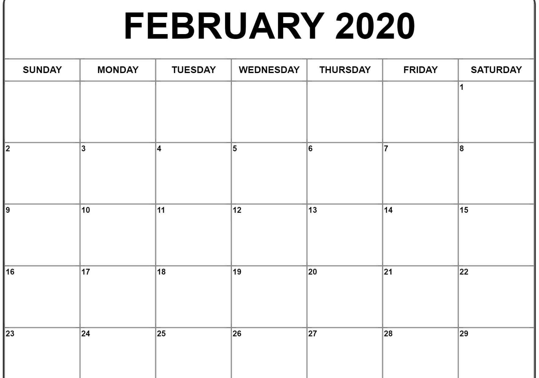February 2020 Editable Calendar Printable