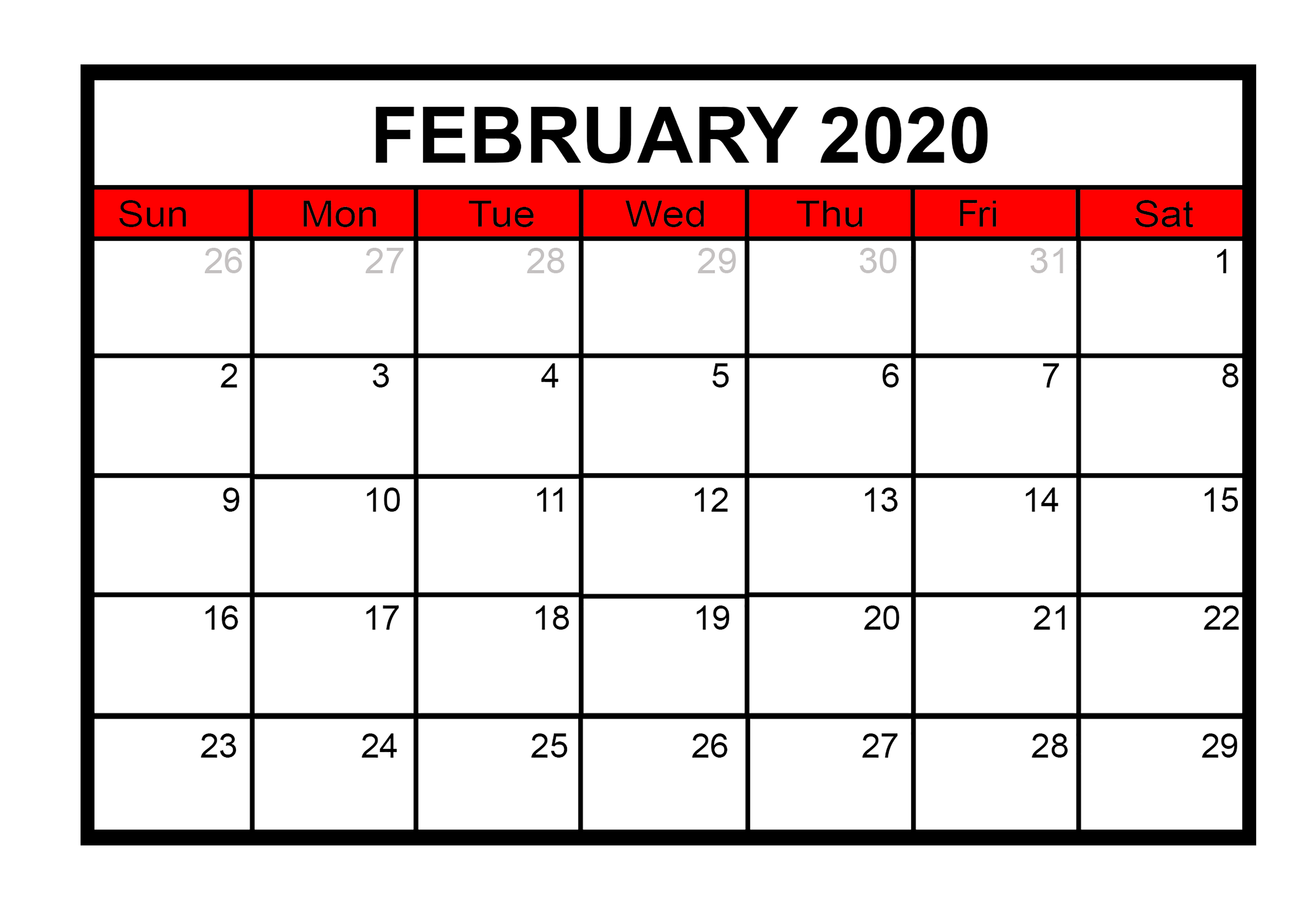February 2020 Printable Calendar Monthly Template