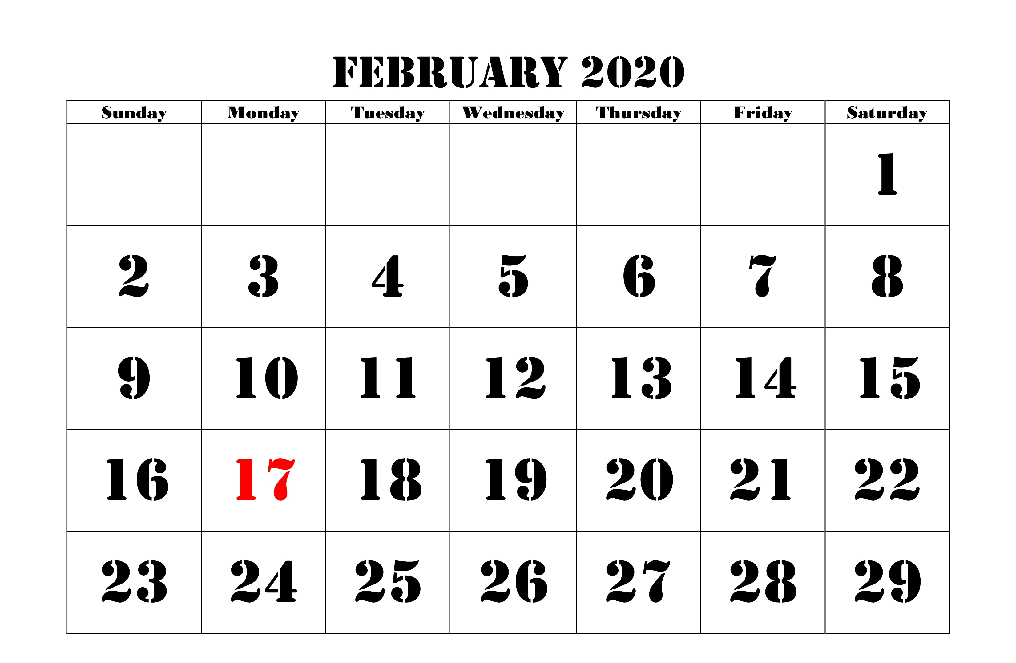 February Calendar 2020 Holidays Template