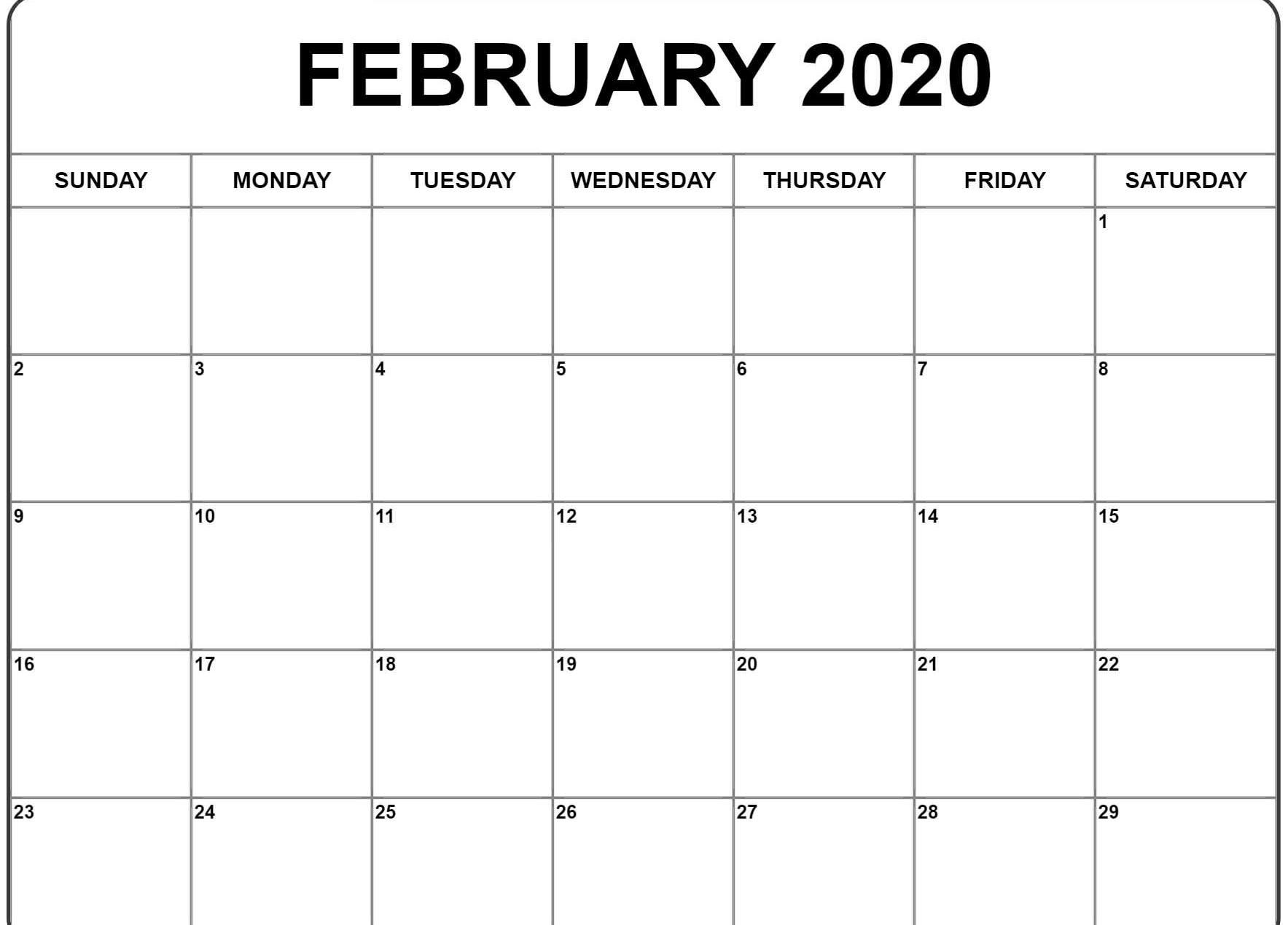 Floral 2020 February Calendar Cute