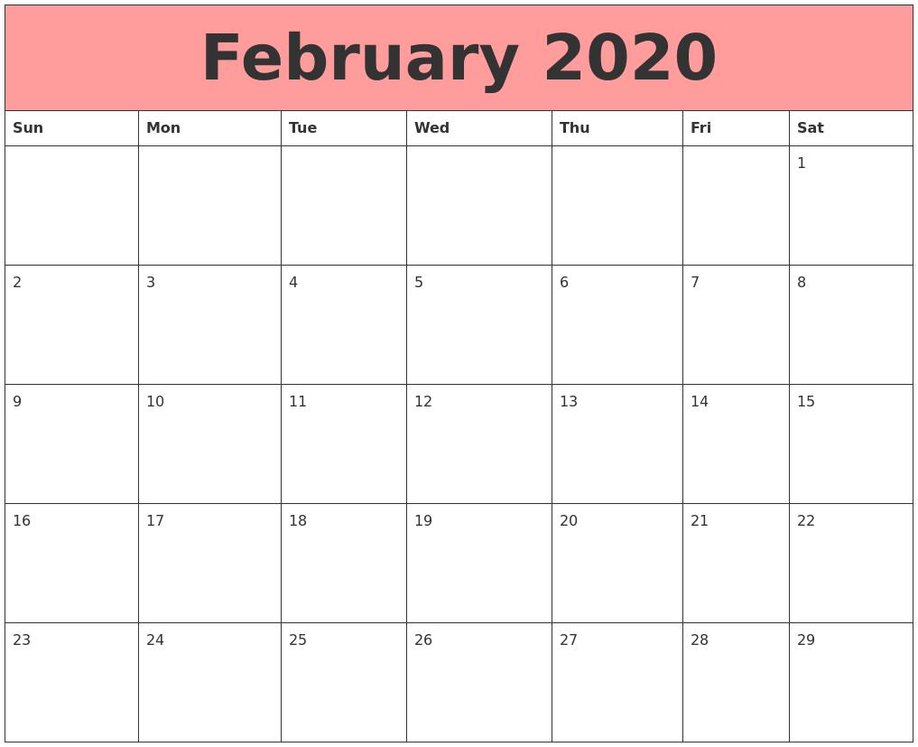 Floral 2020 February Cute Calendar