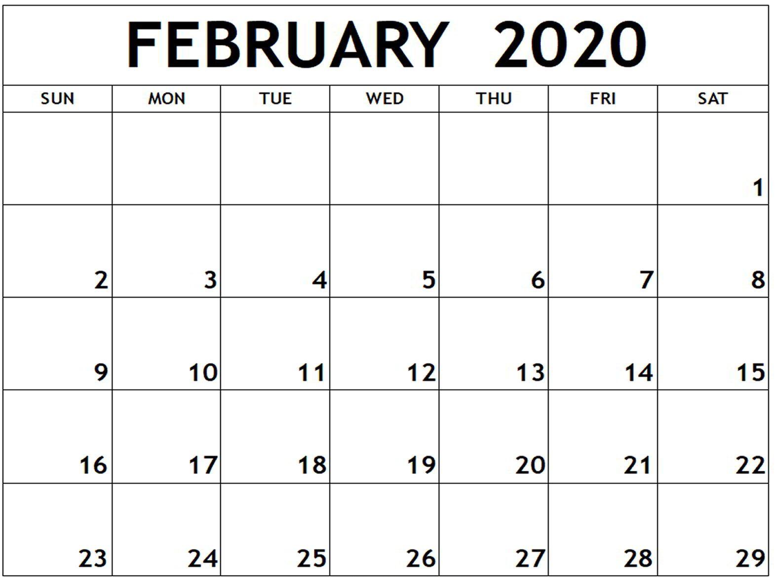 Free Editable February 2020 Calendar