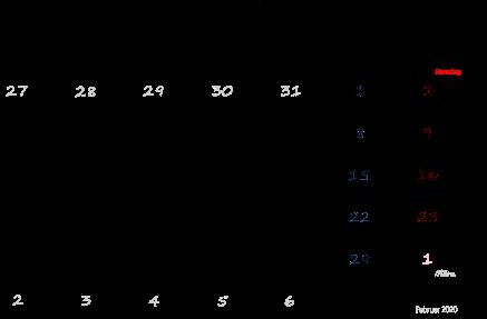 Kalender Februar 2020