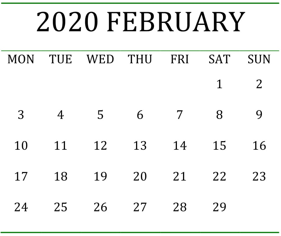 Printable February 2020 Calendar Holidays