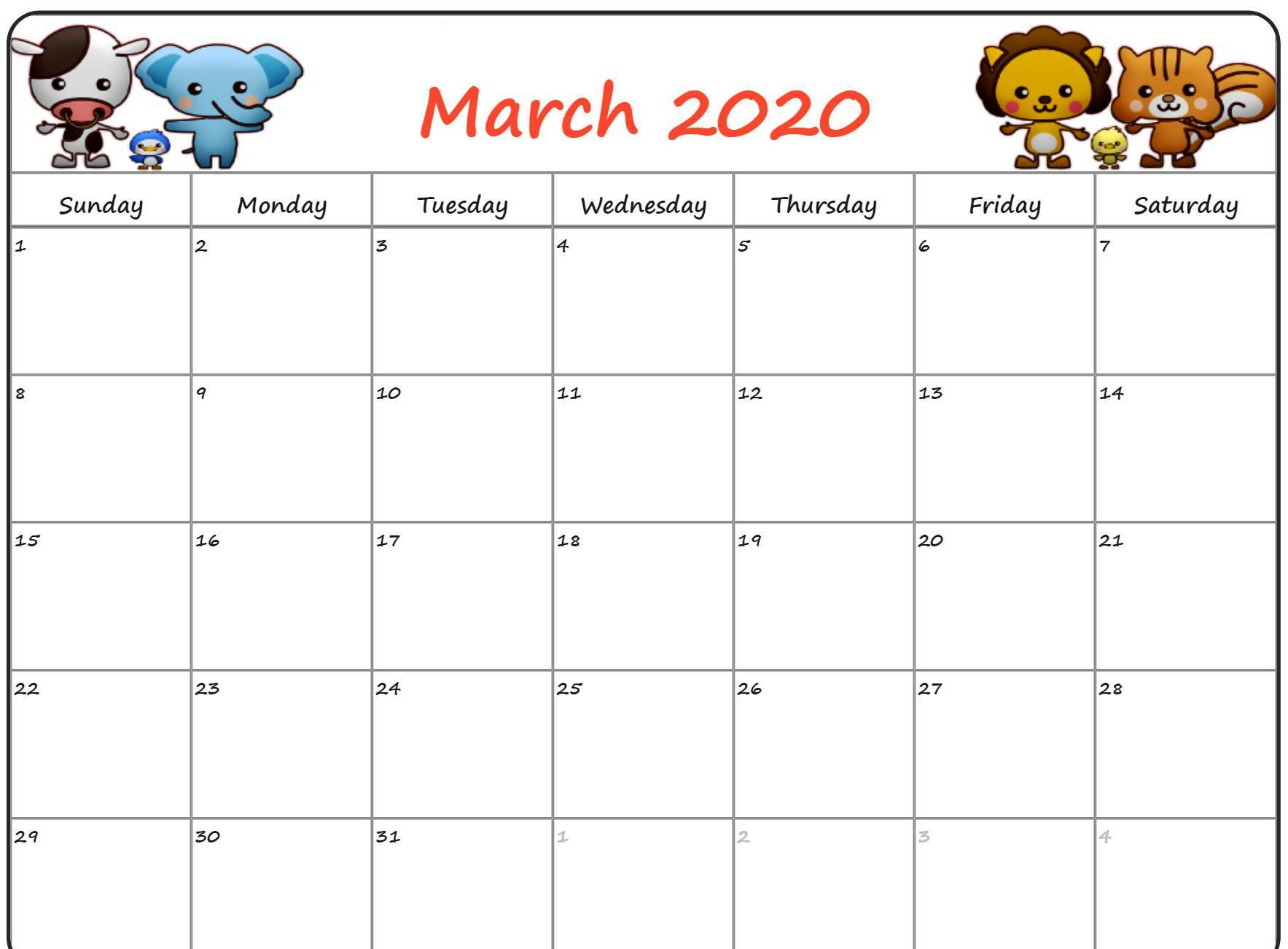 Cute March Calendar 2020 Printable