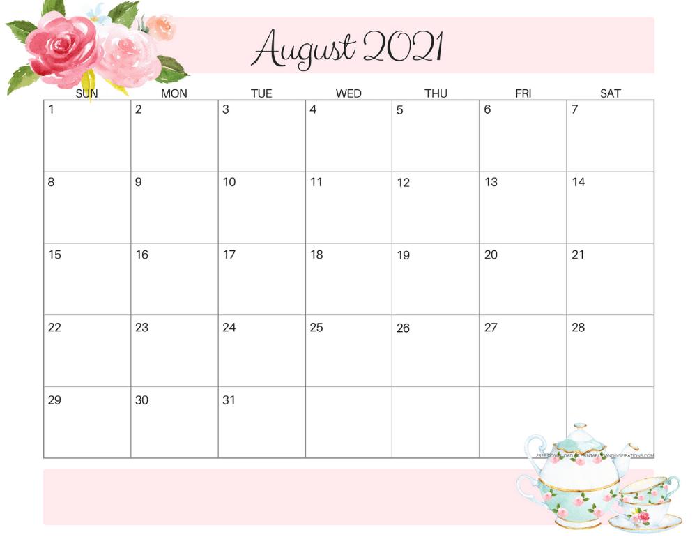 Decorative August 2021 Cute Calendar
