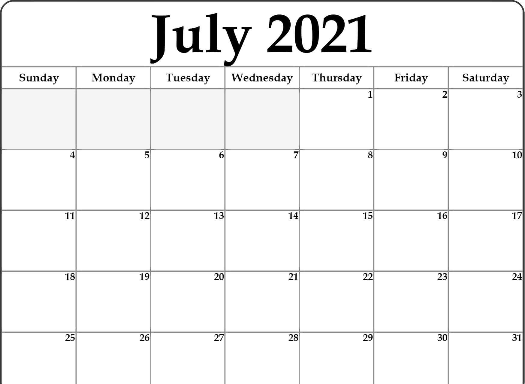 Editable 2021 July Calendar