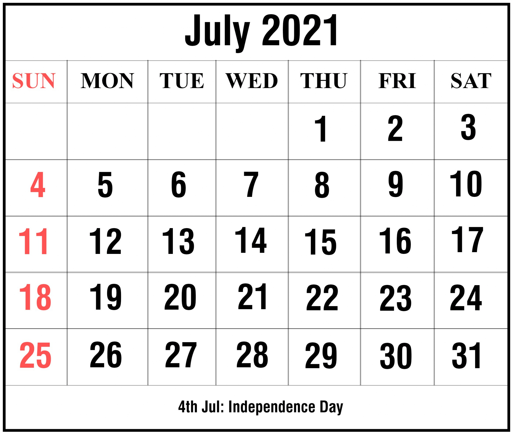 Editable July 2021 Calendar Landscape