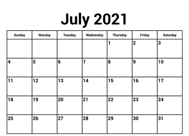 Editable July 2021 Calendar Word