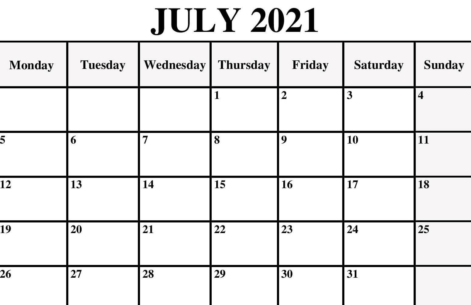 Editable July Calendar 2021