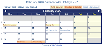 February 2020 Holidays New Zealand