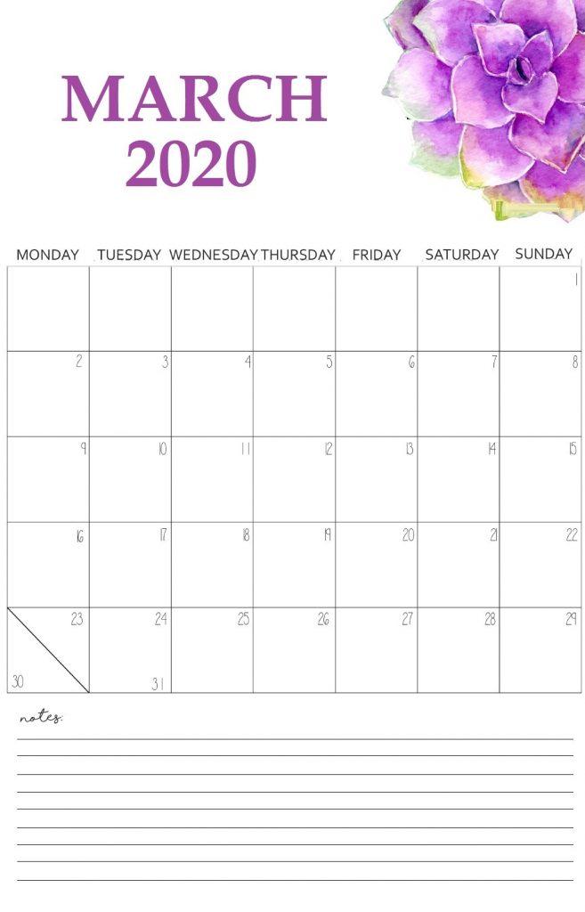 Floral March 2020 Wall Calendar Free