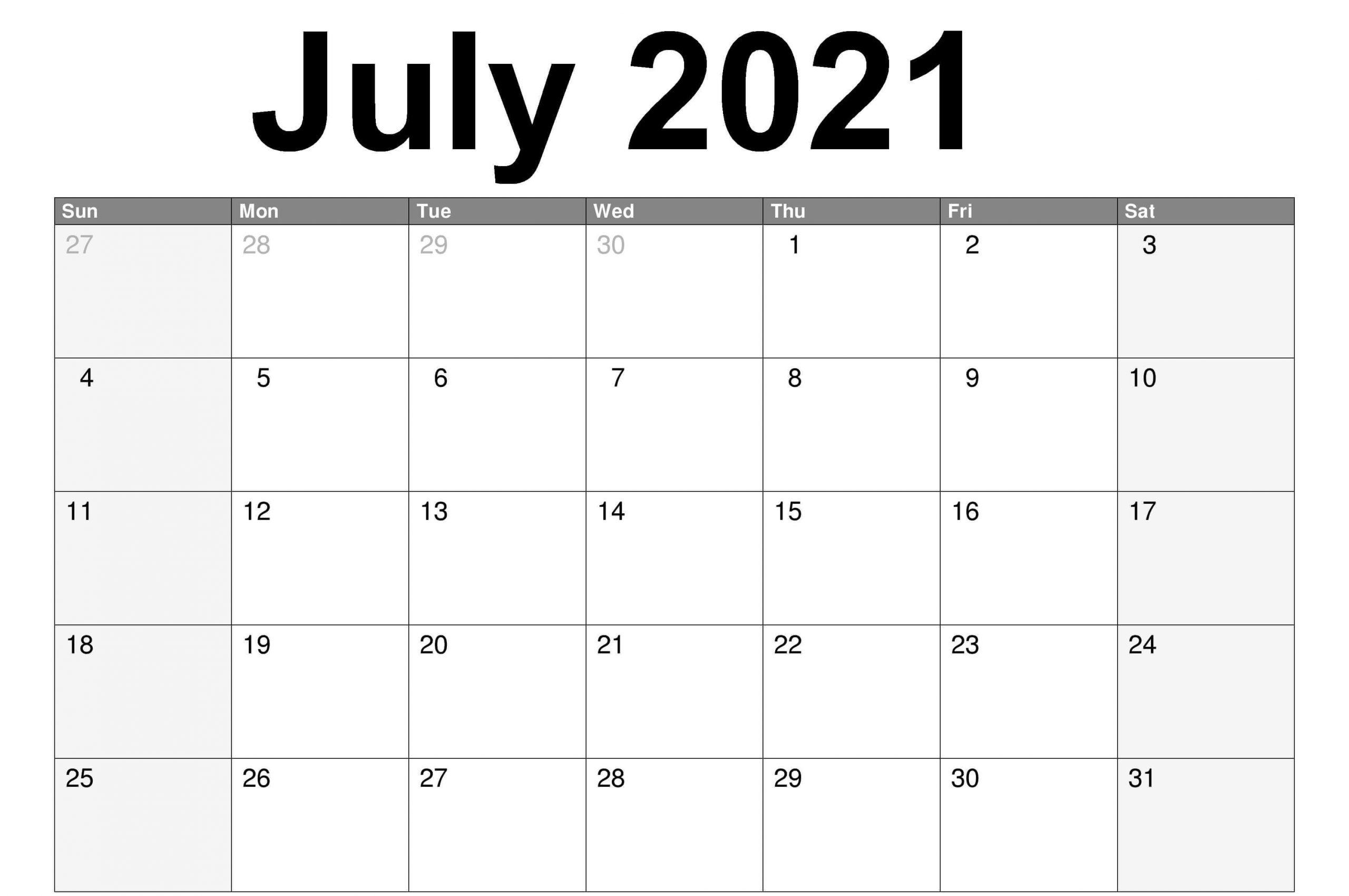 Free Editable July 2021 Calendar