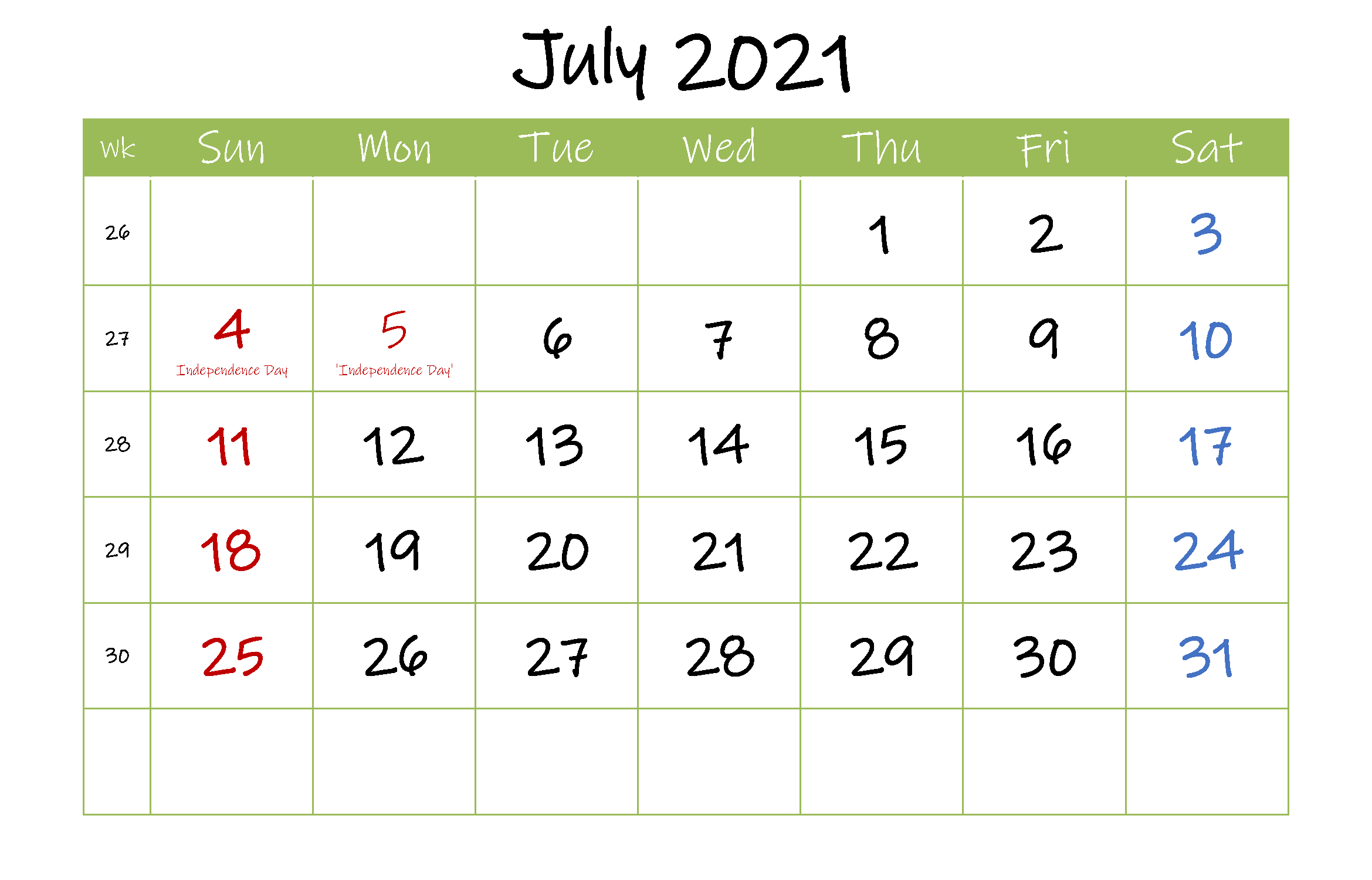 Free July 2021 Printable Calendar with Holidays