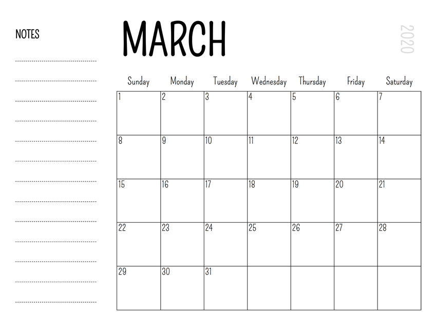 Free March Calendar 2020 Printable with Notes