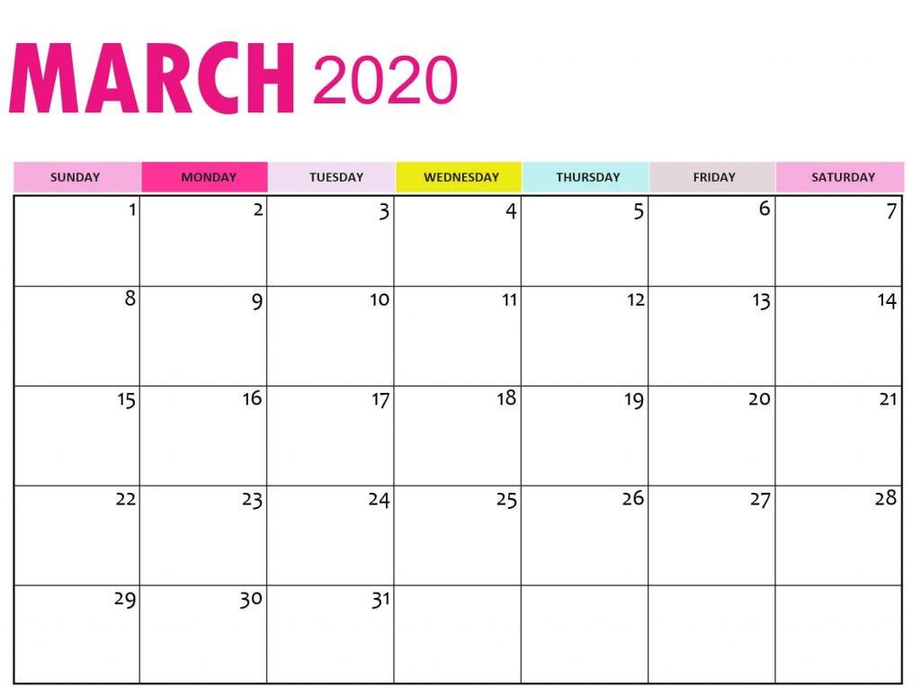 Free March Calendar 2020 Printable
