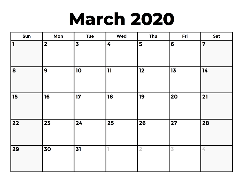 Free March Calendar 2020 Templates