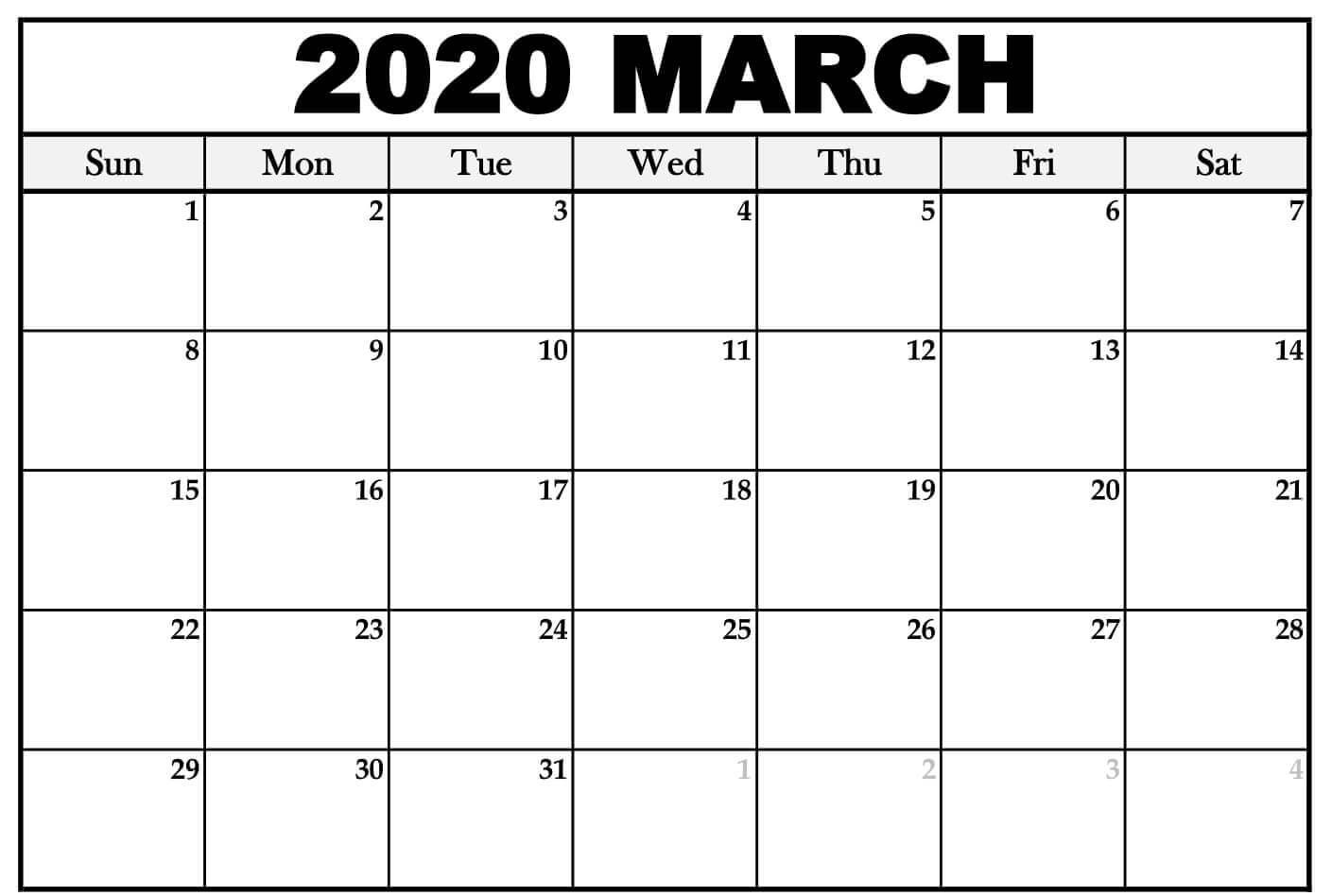 Free March Calendar 2020 Word