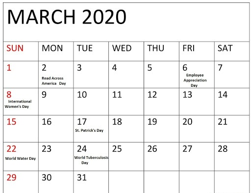 Free March Calendar 2020 with Holidays