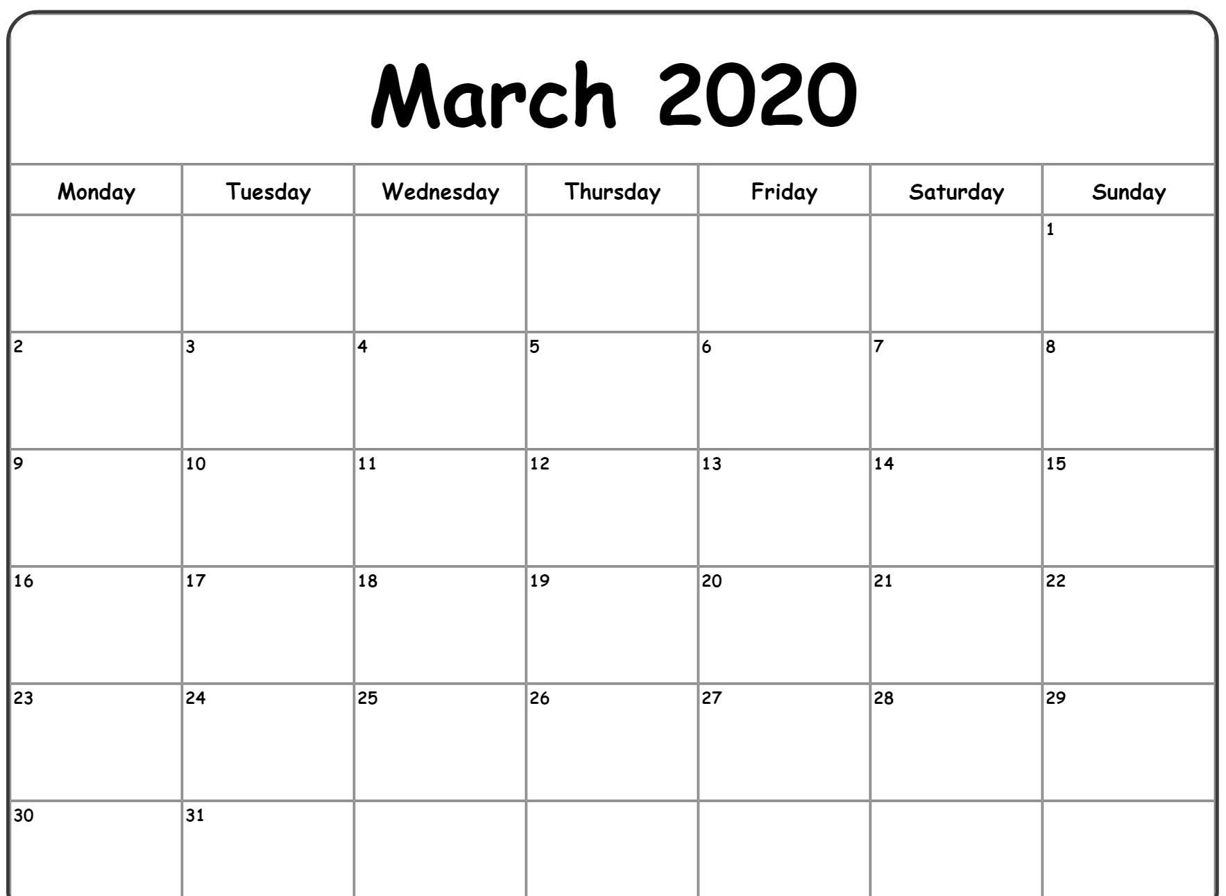 Free March Monthly Calendar 2020