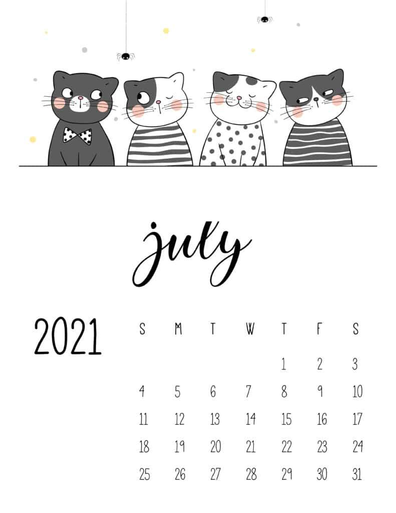 July 2021 Calendar Cute Cats