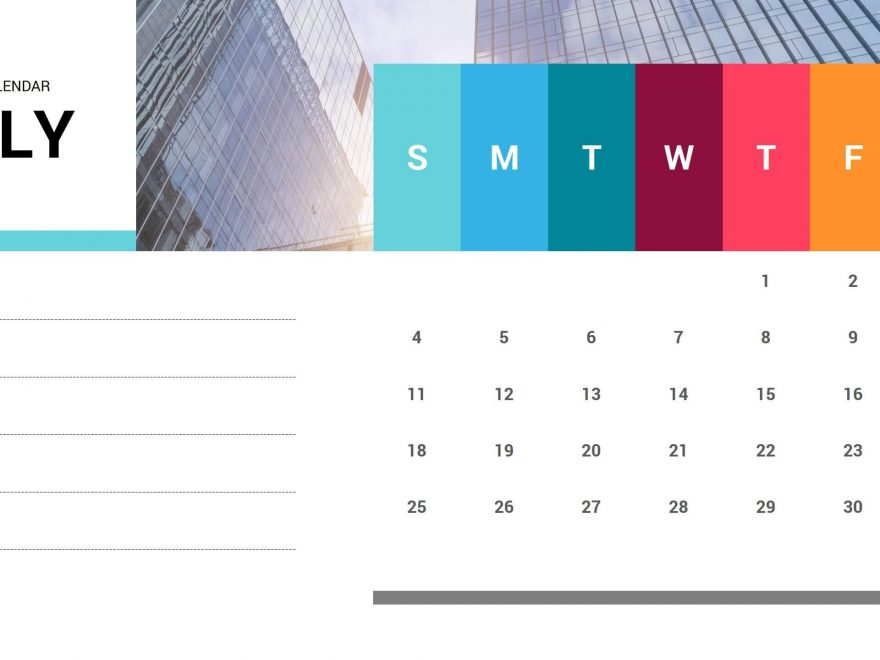 July 2021 Calendar Free PPT Template