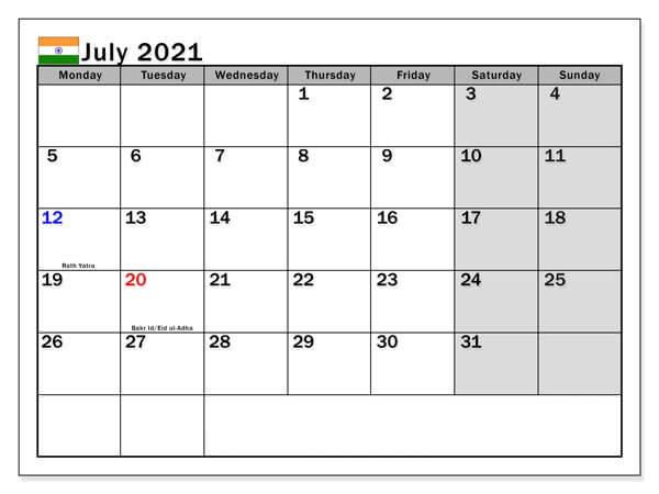 July 2021 Calendar India