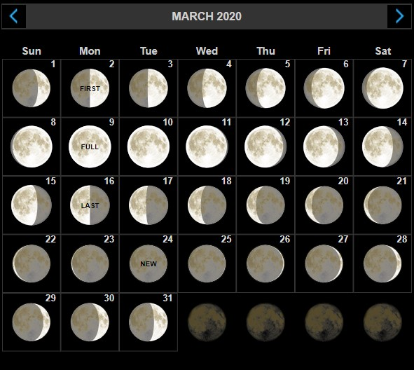 March 2020 Lunar Calendar Phases Template