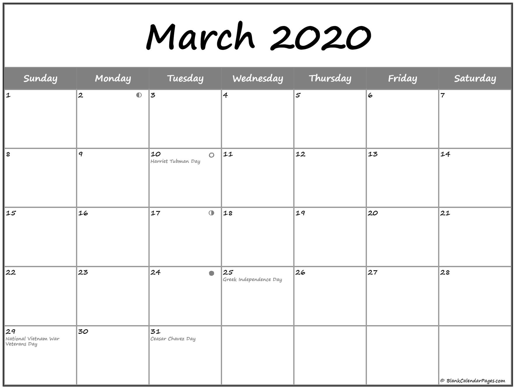 March 2020 Lunar Calendar Template