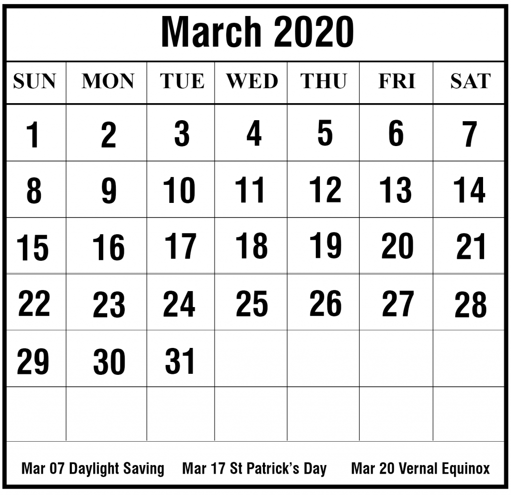 March 2020 Monthly Calendar Word Printable
