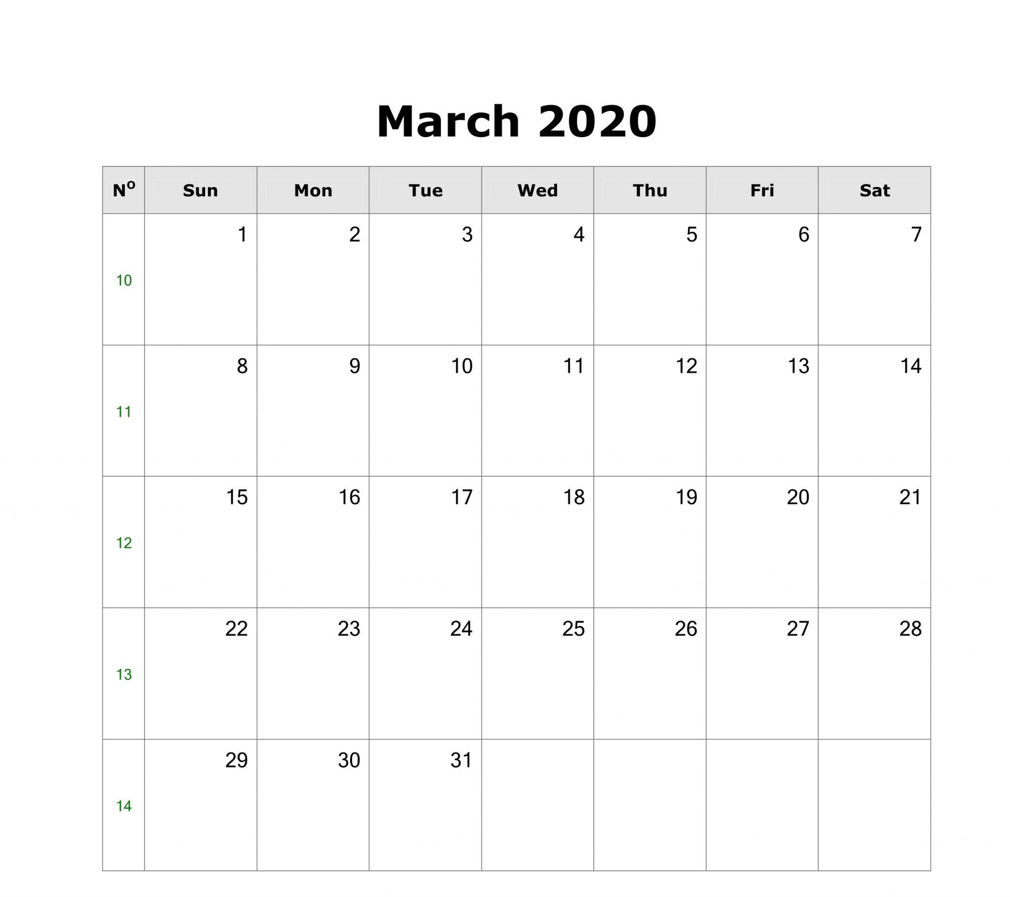 March Blank Calendar 2020 Printable