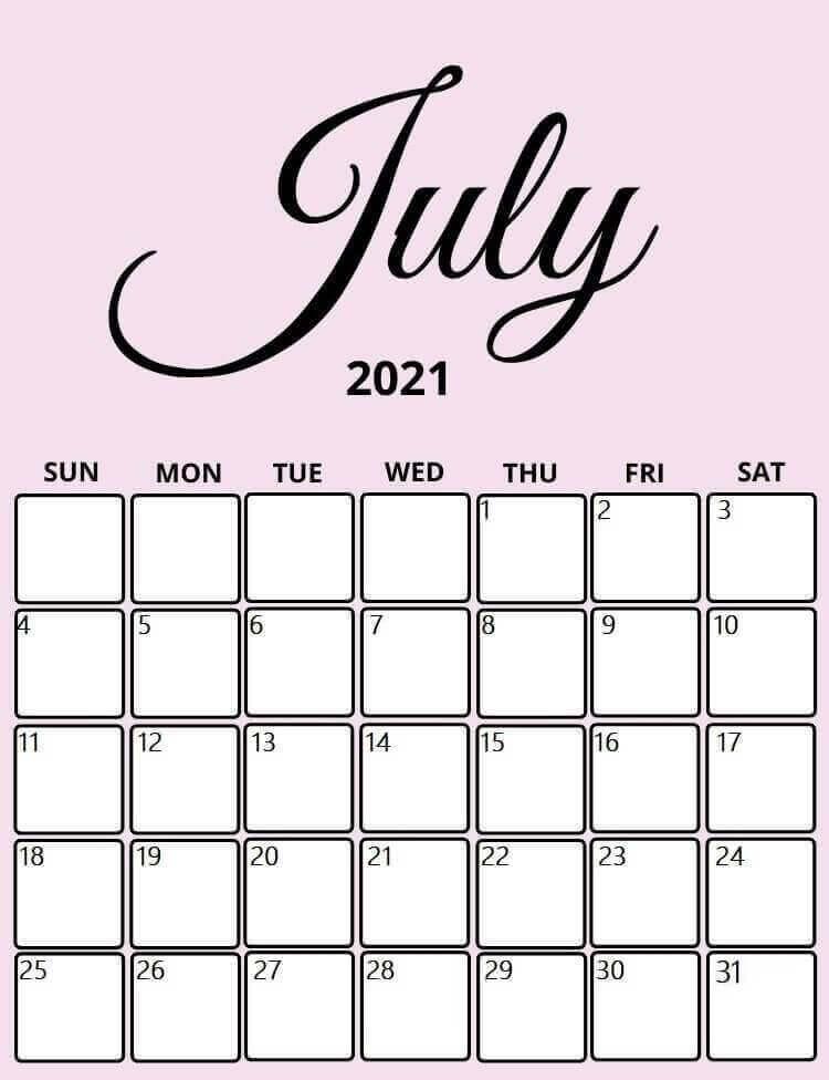 Printable July 2021 Calendar Cute