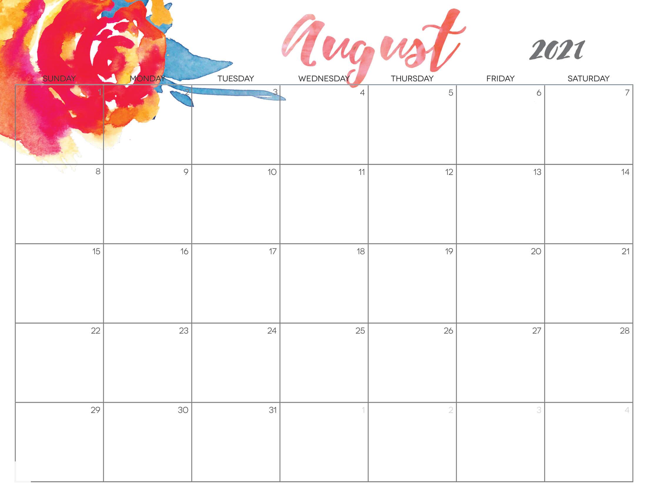 Cute August Calendar 2021 Printable