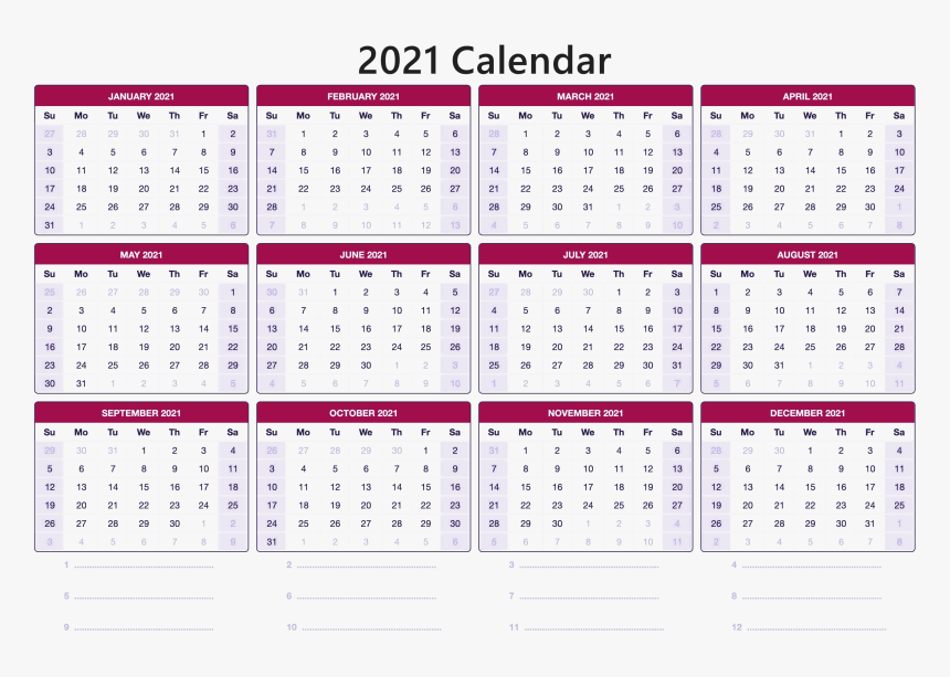12 Month One Page Calendar Template