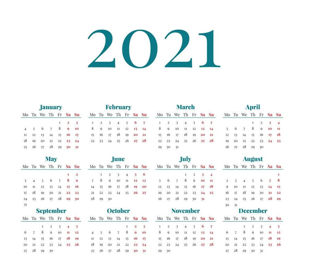 2021 12 Month One Page Calendar