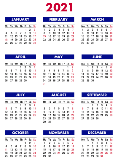 2021 Calendar Holidays USA