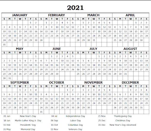 2021 with US Holidays school