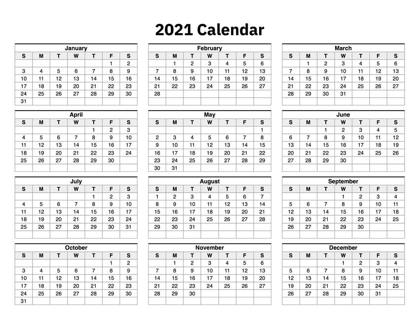 Free 2021 Calendar Template