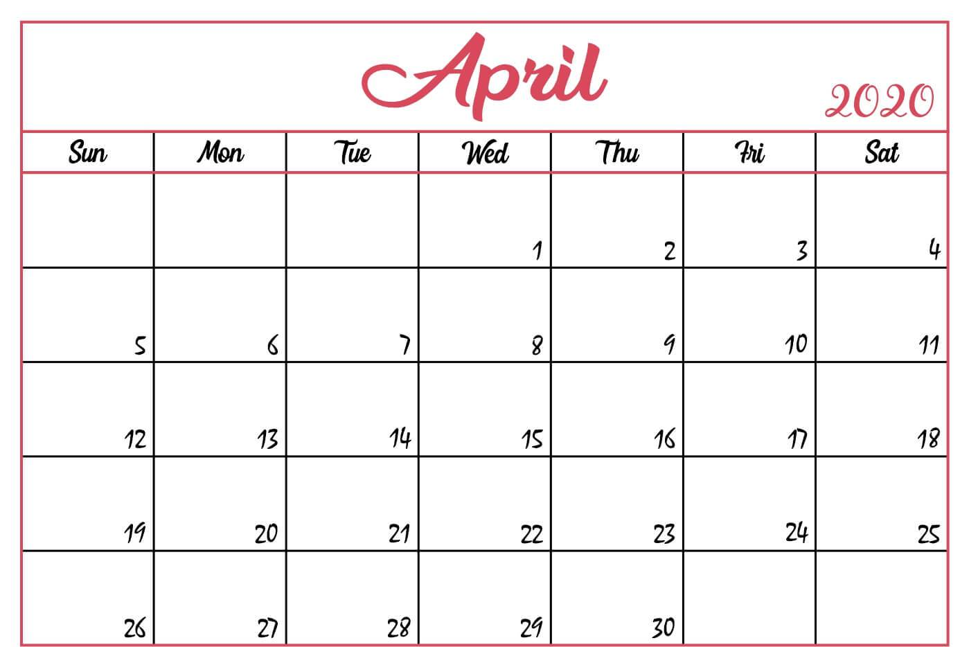 Free April Calendar 2020 Moon Phases