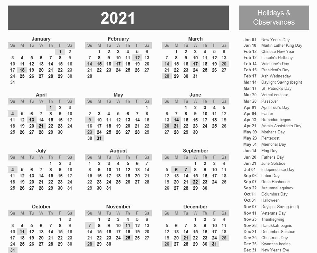 Printable Calendar 2021 with US Federal Holidays