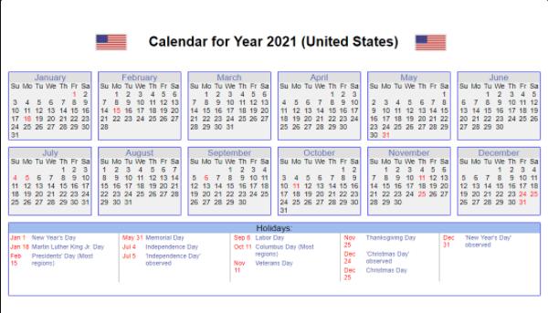 US 2021 Calendar with Holidays