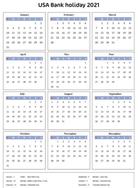 USA Bank Holidays 2021 List