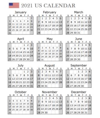 USA Holidays 2021 Calendar