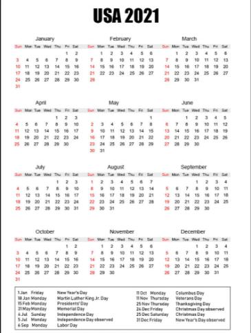 USA Holidays Calendar 2021