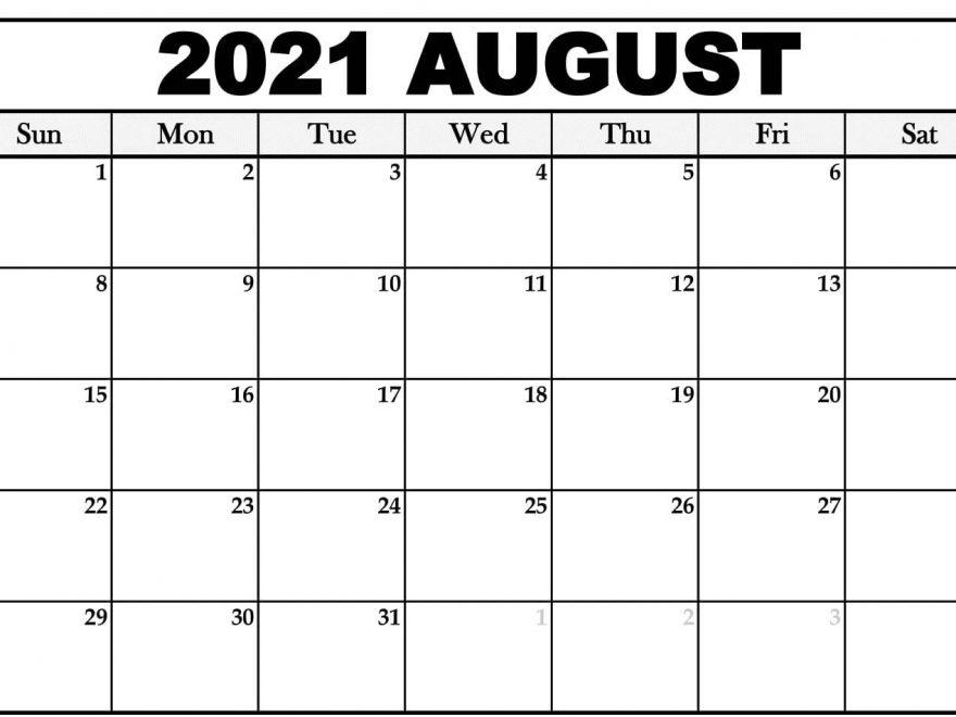 blank calendar for August month