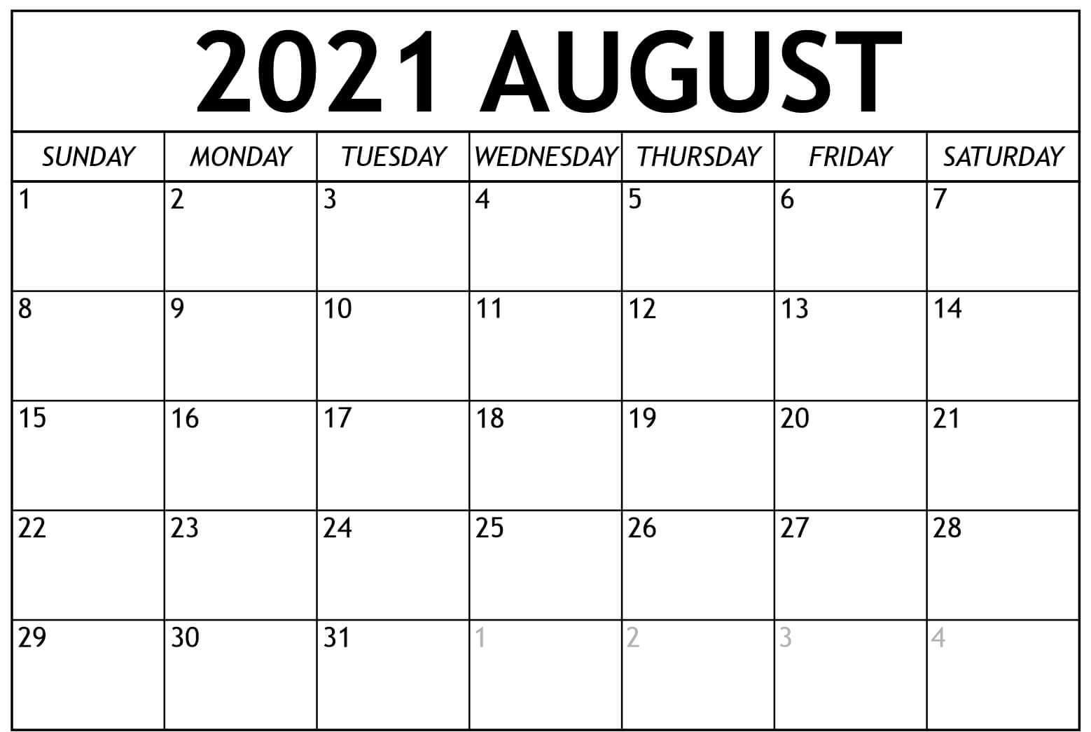 2021 August Calendar Template
