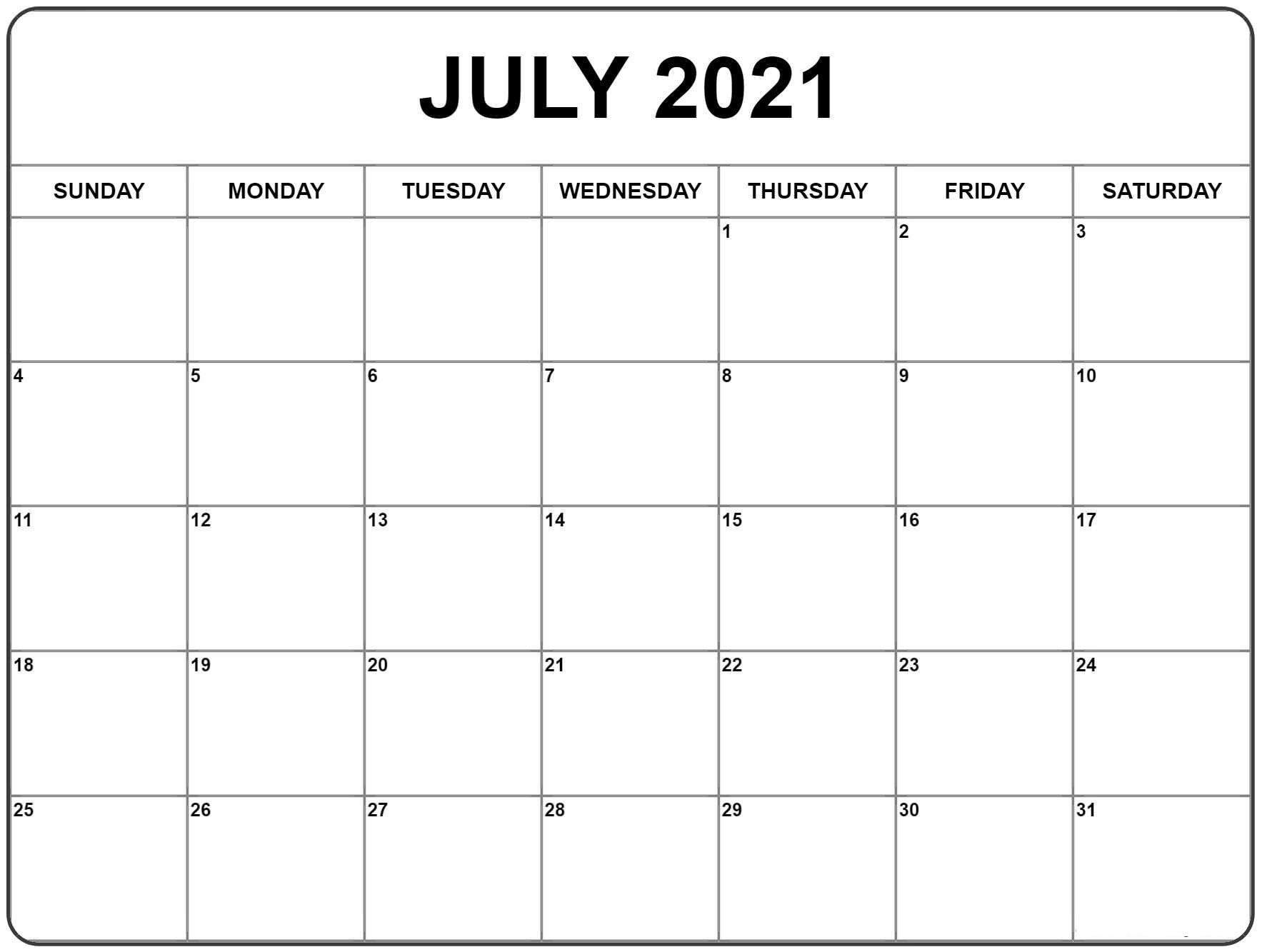 2021 July Blank Calendar