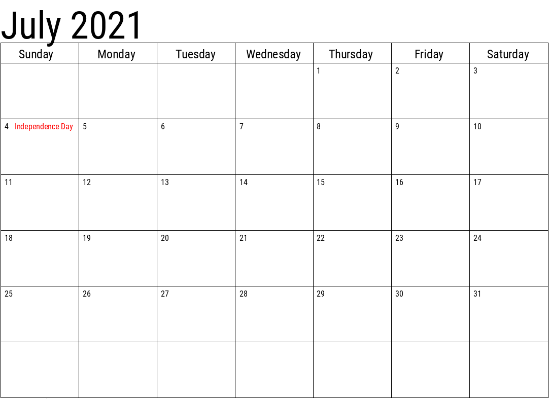 2021 July Calendar With Holidays Template