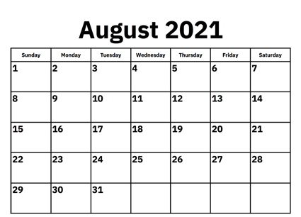 August 2021 Calendar PDF Template