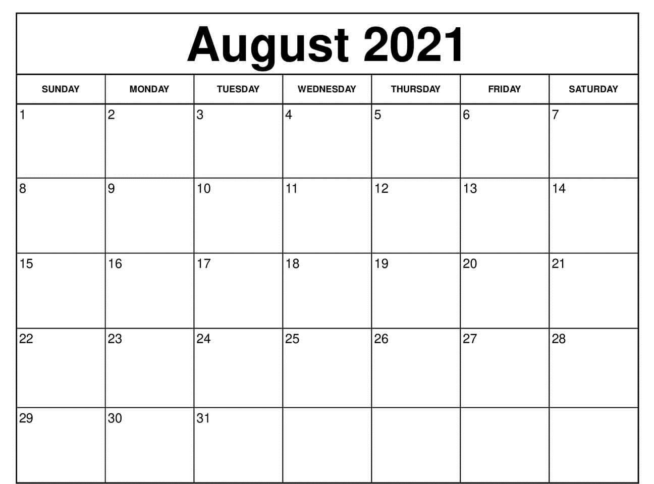 August 2021 Calendar Printable with Holidays